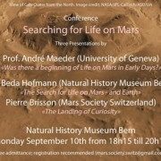 "10 settembre, Museo di Storia Naturale di Berna: Conferenza ""Searching for Life on Mars"""